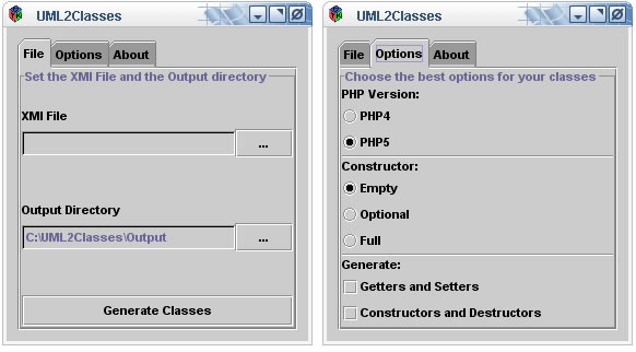 The main Window of UML2Classes when  running in PHP-GTK mode