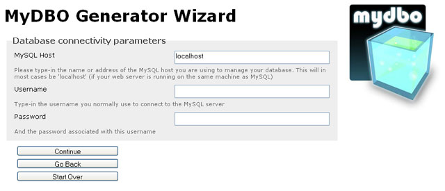 MyDBO wizard takes you through the generation process step by step