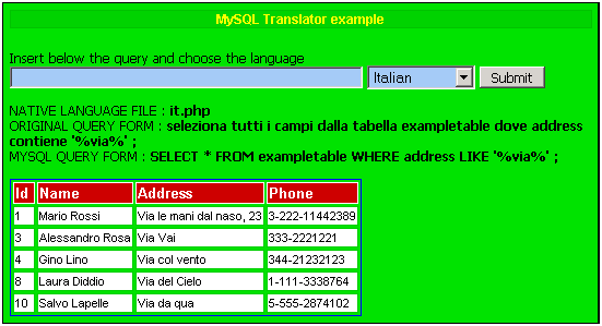 Simple web application implementing MySQL Babel in Italian