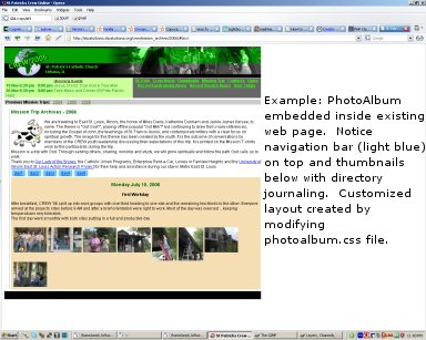 PhotoAlbum embedded in existing webpage.  Layout customized by editing photoalbum.css file.