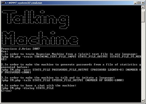 Talking machine command line tool