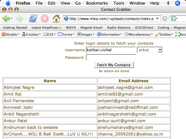 Screenshot of Orkut Contacts