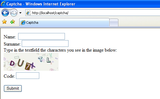 AMDev_Captcha class form screenshot