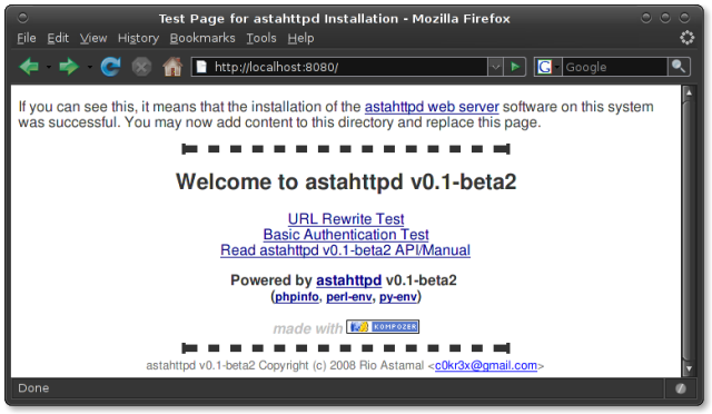 astahttpd default test page