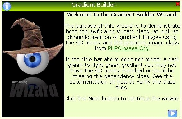 Screenshot from the Gradient Builder example