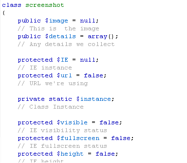 Shows some of the source code, highlighted
