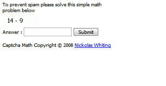 Math Captcha In Action