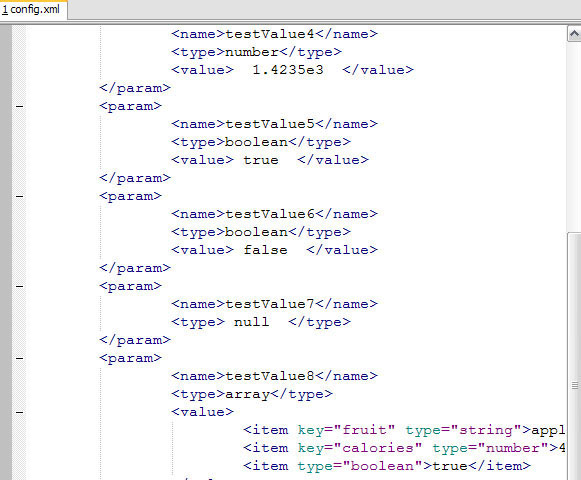 Sample configuration file in SciTe...