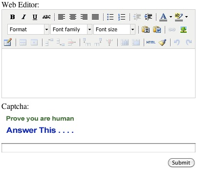 Web Editor and Captcha