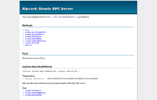 Ripcord auto generated server documentation