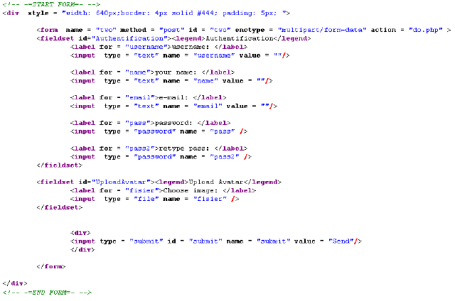 How the HTML code looks like