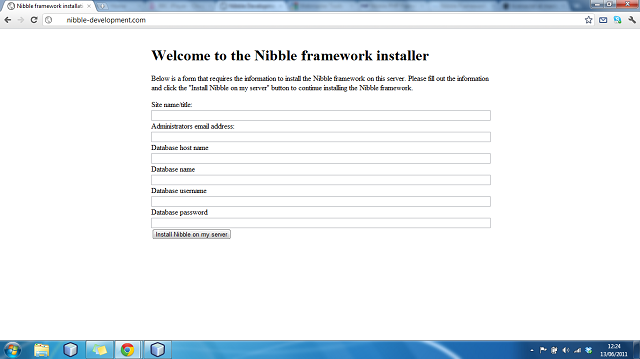 Install script for Nibble Framework