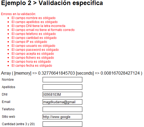 Result after validating (in Spanish)
