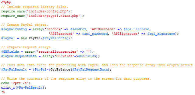 Code sample for calling the GetBalance API.