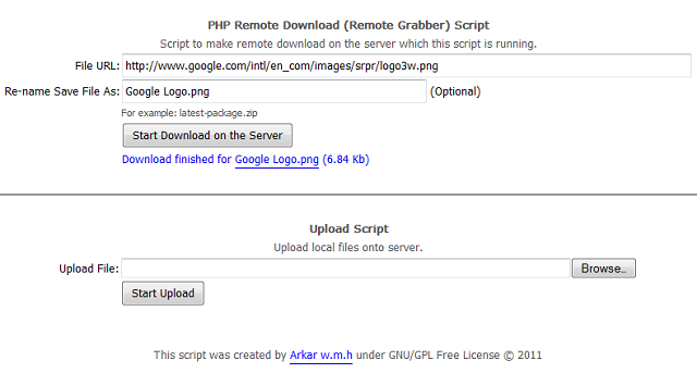 "Screenshot of ""PHP Remote Download (Grabber) Script"""