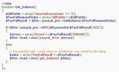 Screenshot of using the GetBalance API