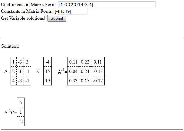 Screen shot of the Linear Algebra application using LW_Matrix