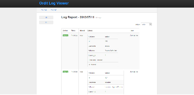 A screenshot of the Log Viewer