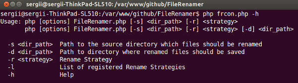 Result of running help command