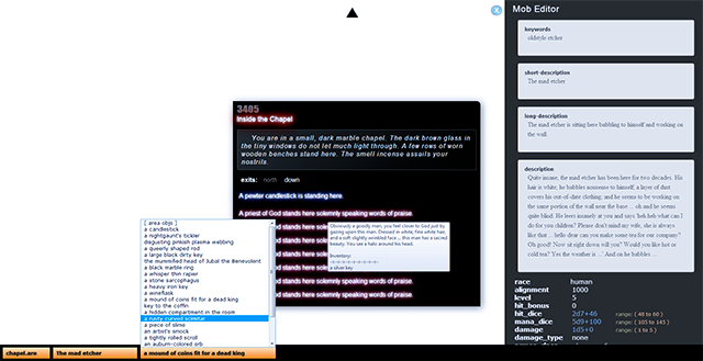 Screenshot of the Weller MUD Area Editor in action.