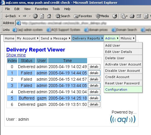 screenshot delivery reports and admin menu